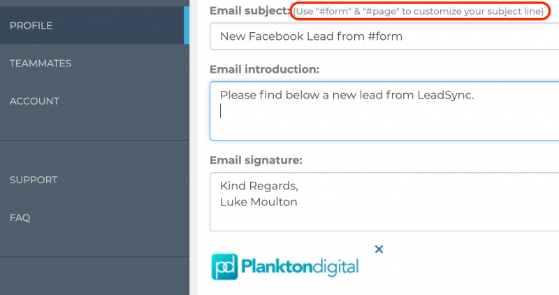 Customize Lead Notifications Email