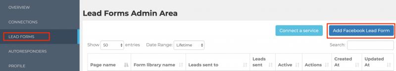add a Facebook lead form to LeadSync