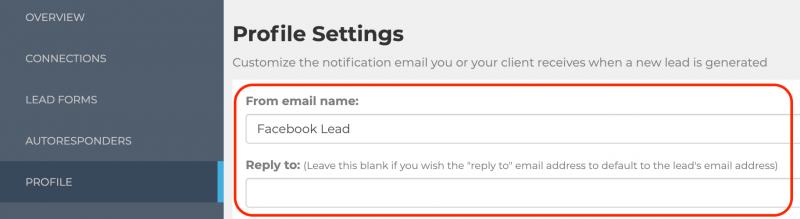 LeadSync Profile Settings