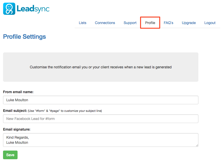Customize LeadSync Email settings