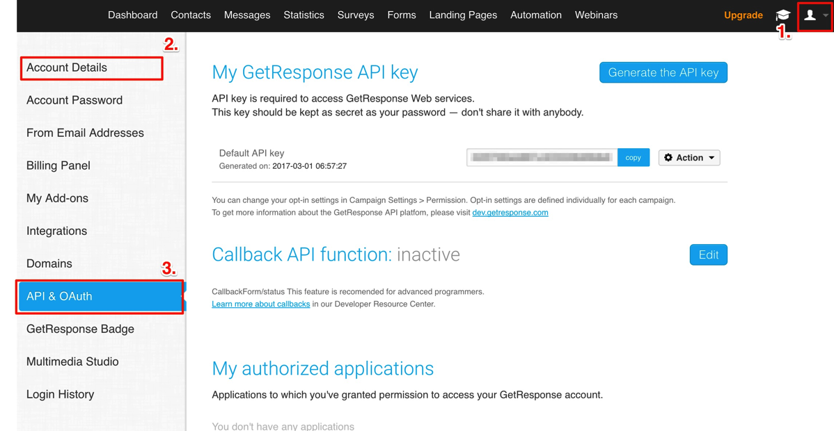 Find GetResponse API Key