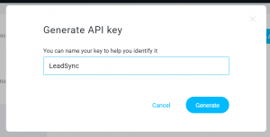 Generate API key for LeadSync