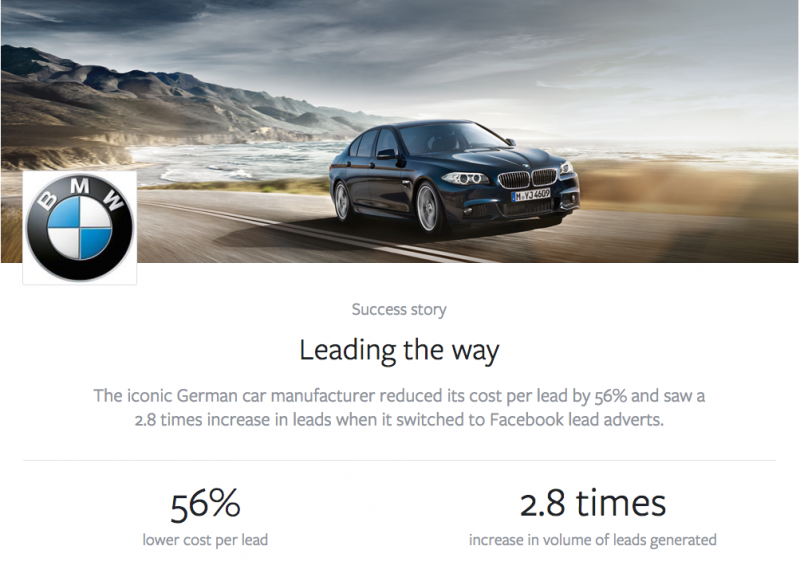 BMW UK Facebook Lead ads campaign results