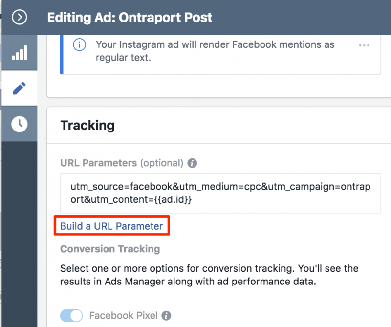 Build a URL Parameter in Facebook Ads