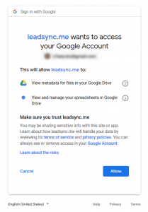 Give LeadSync access to Goolge Sheets