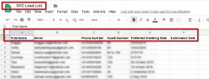 Google Sheets Fields