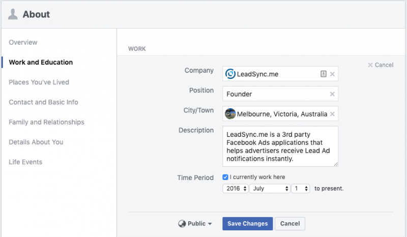Facebook work and education profile