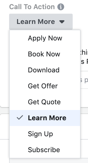 Facebook Ads Button Options