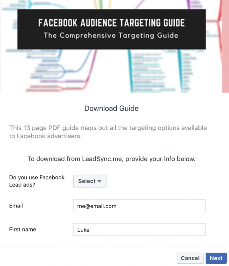 Facebook Lead Form