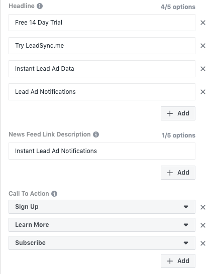 Facebook Dynamic ad options