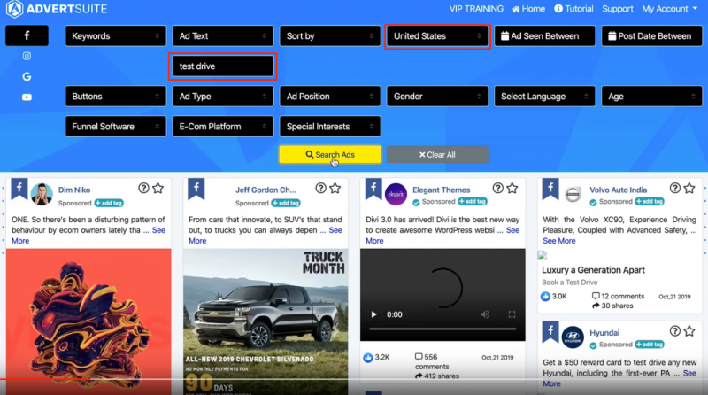 test drive keyword search results in Advertsuire
