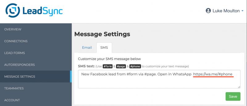 Setup Facebook Leads WhatsApp SMS