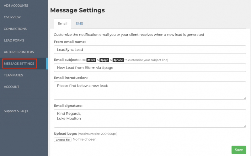 LeadSync Email Notification Settings