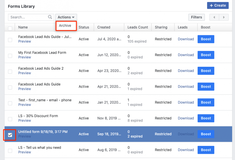 Archive Facebook Lead Forms