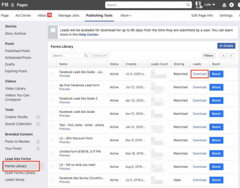 Download Facebook leads