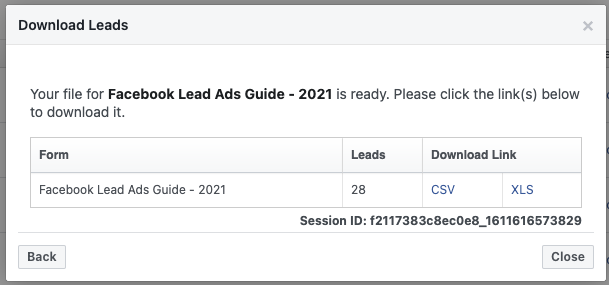Download Facebook leads as a CSV or XML file.