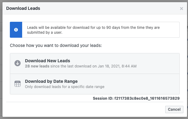 Download Facebook Lead Ad CSV