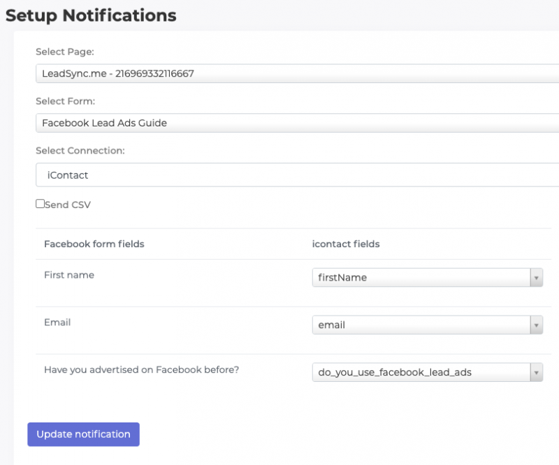 Map Facebook Lead Ad Fields to iContact