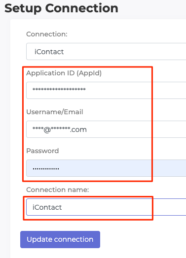 Paste iContact Details into LeadSync