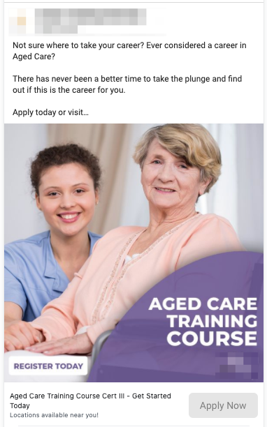 Aged Care Training Lead Ads