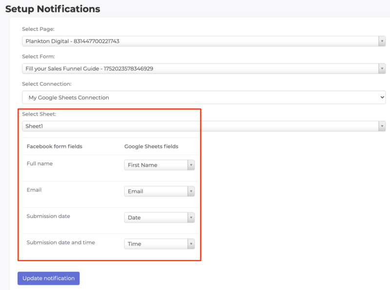 Connect Facebook Lead form to Google Sheets