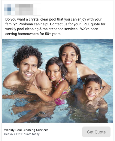 Pool Cleaning Lead Ad Example