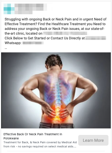 Back Pain Lead Ad Example