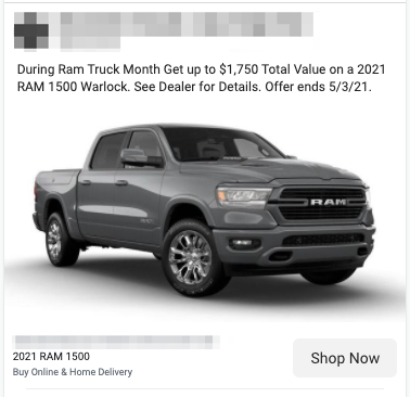 New Car Sales Lead Ad Example