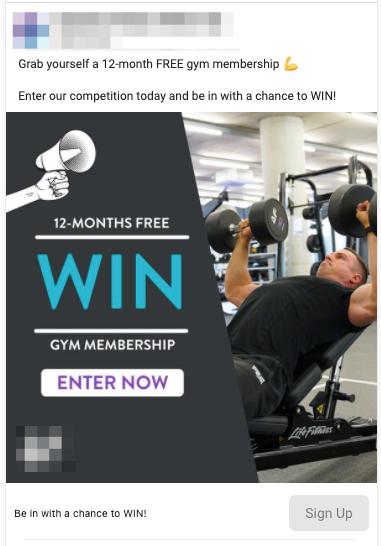 Gym Membership Lead Ad Example