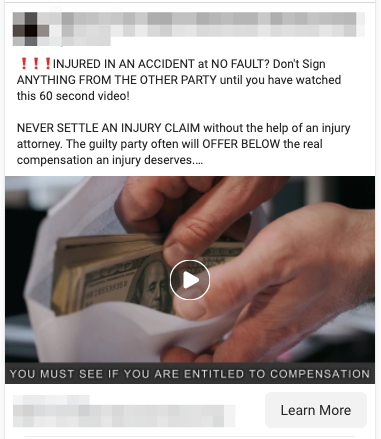 Injury compensation Lead Ad Example