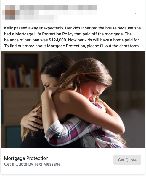 Mortgage Protection Lead Ad Example