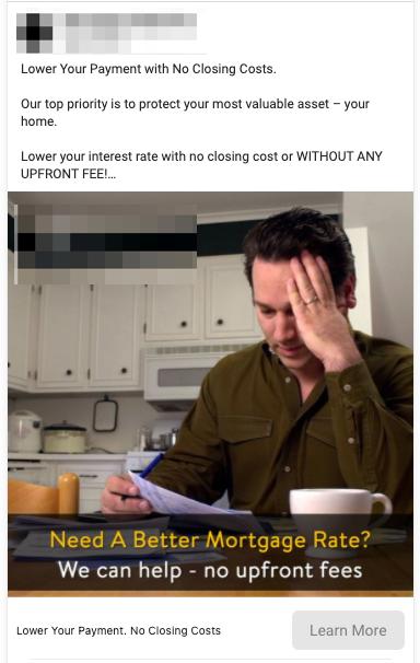 Mortgage Refinancing lead ad