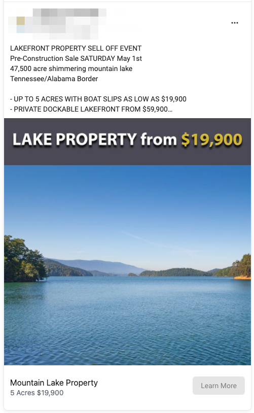 Property Sales Lead Ad Example