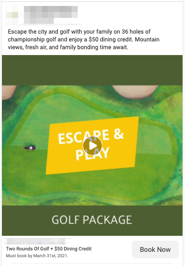 Golf Play & Stay Lead Ad Example