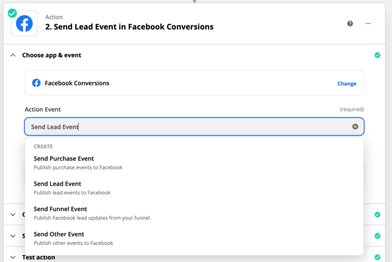 Send Lead Events in Facebook Conversions