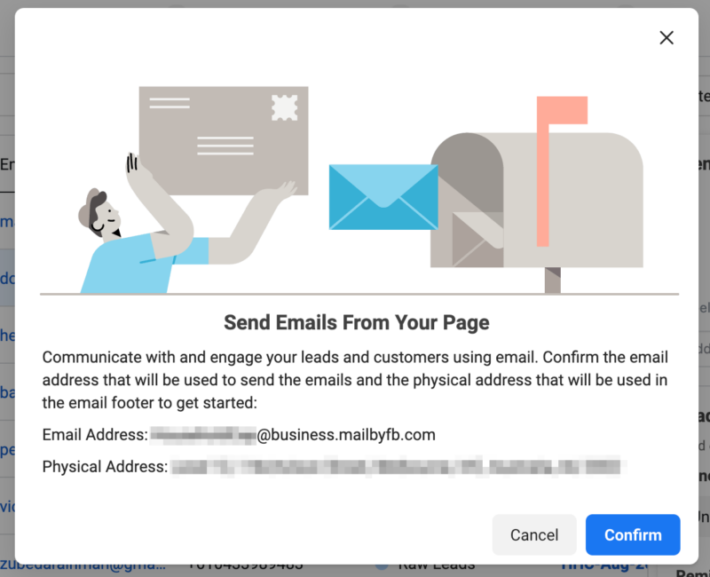 Send emails to leads from your Facebook Page